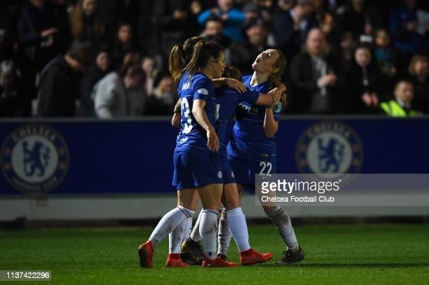 Erin Cuthbert of Chelsea celebrates with teammates after scoring her team's second goal during the UEFA Women's Champions League Quarter Final First...