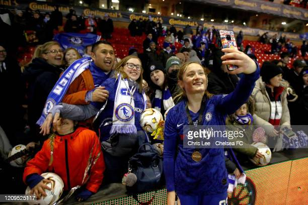Erin Cuthbert of Chelsea celebrates with the fans during the FA Women's Continental League Cup Final Chelsea FC Women and Arsenal FC Women at City...