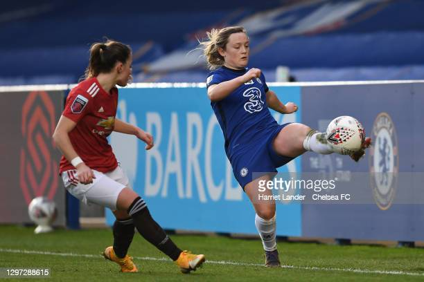 Erin Cuthbert of Chelsea controls the ball during the Barclays FA Women's Super League match between Chelsea Women and Manchester United Women at...