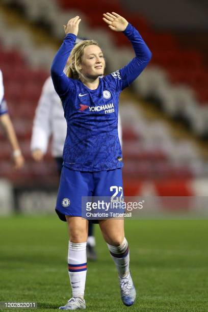 Erin Cuthbert of Chelsea FC celebrates Chelsea's victory during the FA Women's Continental League Cup SemiFinal match between Manchester United Women...