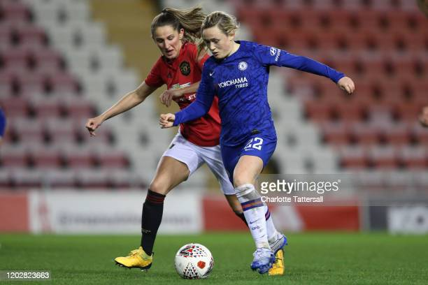 Erin Cuthbert of Chelsea FC on the ball with Abbie McManus of Manchester United during the FA Women's Continental League Cup SemiFinal match between...
