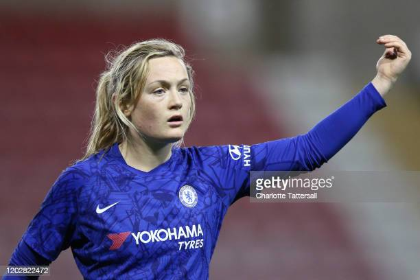 Erin Cuthbert of Chelsea FC reacts during the FA Women's Continental League Cup SemiFinal match between Manchester United Women and Chelsea FC Women...