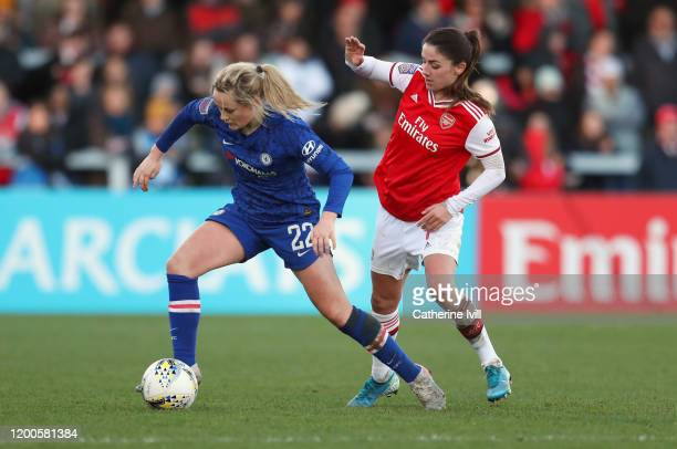 Erin Cuthbert of Chelsea gets past Danielle Van de Donk of Arsenal during the Barclays FA Women's Super League match between Arsenal and Chelsea at...