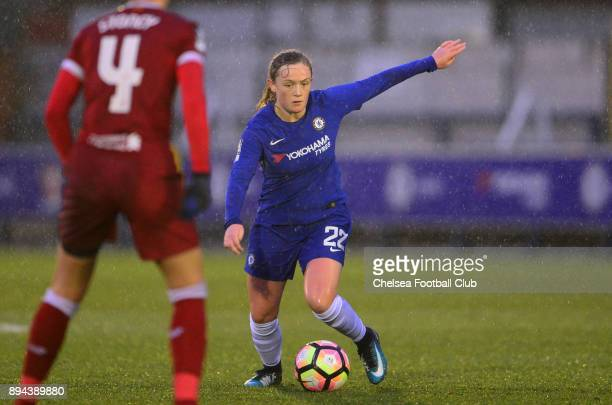 Erin Cuthbert of Chelsea in action during a WSL match between Chelsea Ladies and Liverpool Ladies at The Cherry Red Records Stadium on December 17...