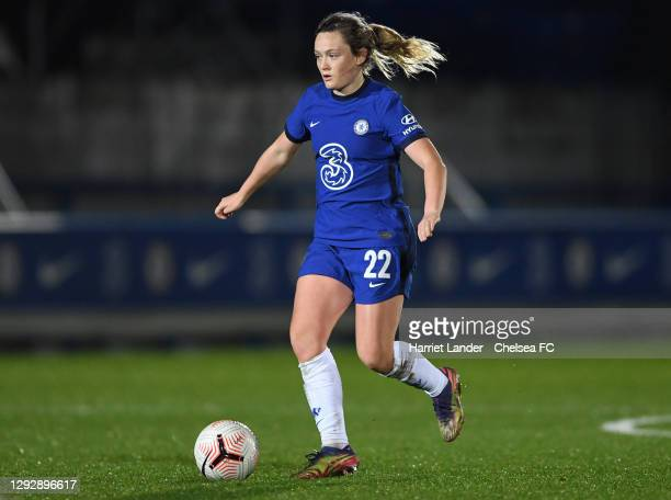 Erin Cuthbert of Chelsea in action during the UEFA Women's Champions League round of 32 second leg match between FC Chelsea Women and SL Benfica...