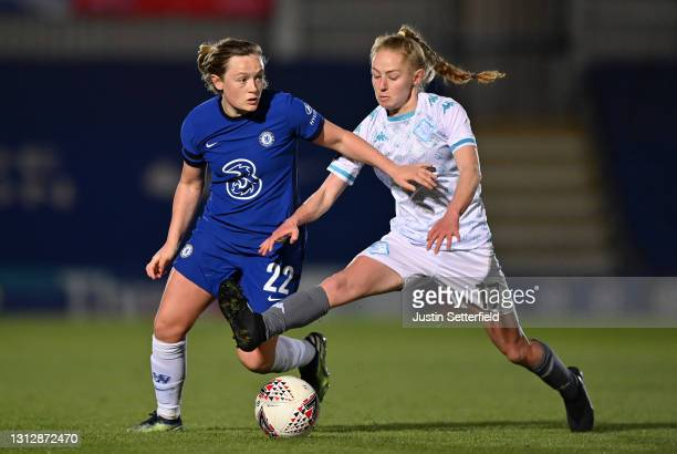 Erin Cuthbert of Chelsea is tackled by Lucy Fitzgerald of London City Lionesses during the Vitality Women's FA Cup Fourth Round match between Chelsea...