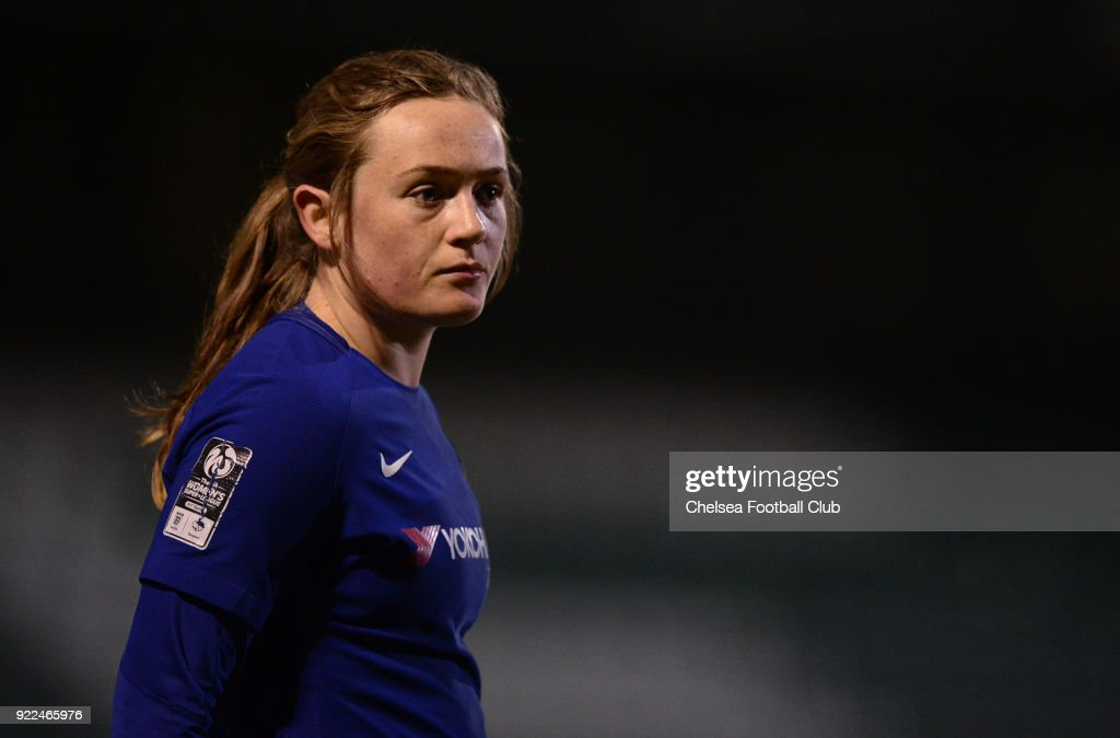 Erin Cuthbert of Chelsea looks on during a WSL match between Chelsea and Yeovil Town Ladies at Huish Park on February 21, 2018 in Yeovil, England.