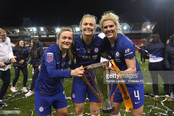 Erin Cuthbert of Chelsea Magdalena Eriksson of Chelsea and Millie Bright of Chelsea with the cup during the FA Women's Continental League Cup Final...