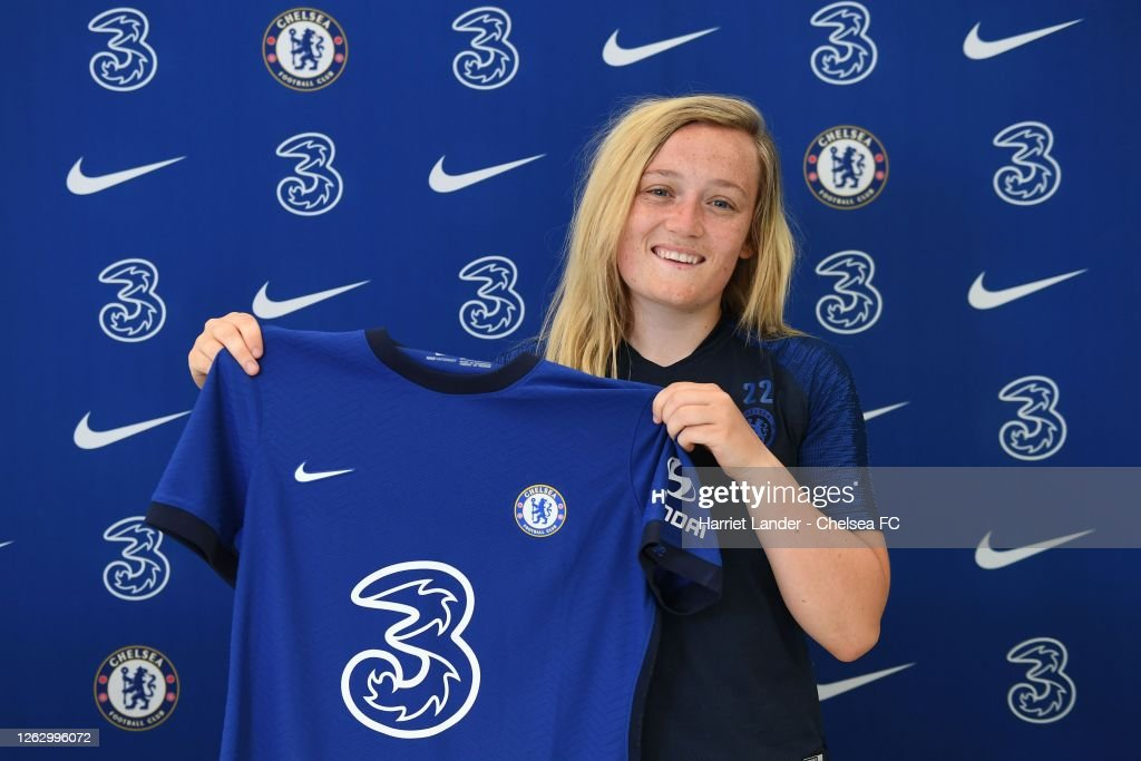 Erin Cuthbert of Chelsea poses for a photograph as she signs a new ...