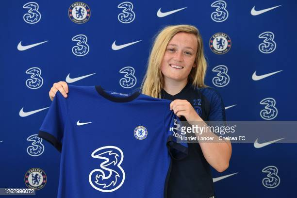 Erin Cuthbert of Chelsea poses for a photograph as she signs a new contract with Chelsea FC Women at Chelsea Training Ground on July 31 2020 in...