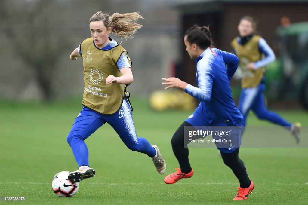 GBR: Chelsea Women Training Session And Press Conference