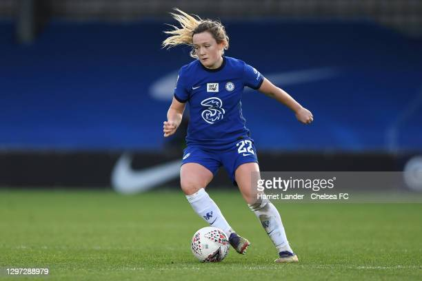 Erin Cuthbert of Chelsea runs with the ball during the Barclays FA Women's Super League match between Chelsea Women and Manchester United Women at...