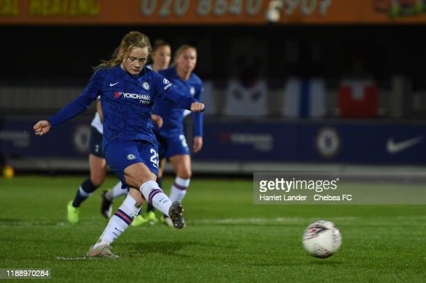 Erin Cuthbert of Chelsea scores a penalty for her team's second goal during the FA Women's Continental League Cup game between Chelsea Women and...