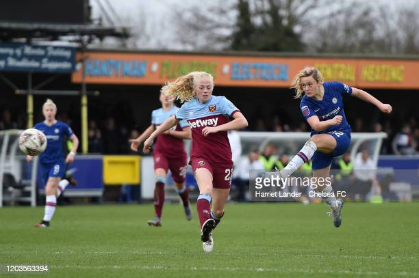 Erin Cuthbert of Chelsea scores her team's fourth goal during the Barclays FA Women's Super League match between Chelsea and West Ham United at...