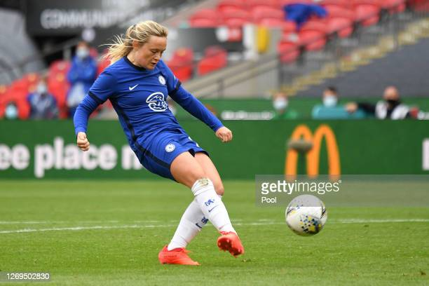 Erin Cuthbert of Chelsea scores her team's second goal during the Women's FA Community Shield Final at Wembley Stadium on August 29, 2020 in London,...