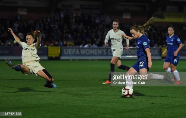 Erin Cuthbert of Chelsea scores her team's second goal during the UEFA Women's Champions League Quarter Final First Leg match between Chelsea Women...