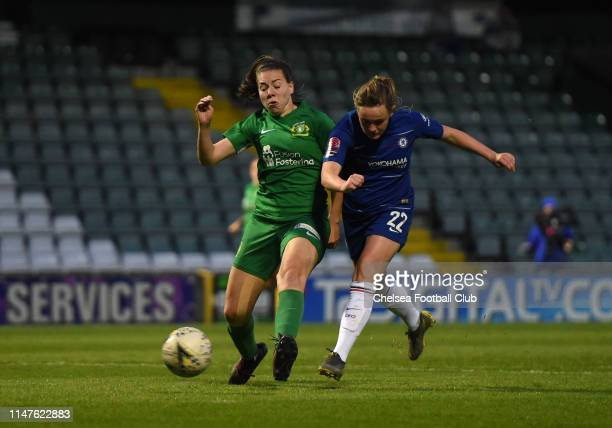 Erin Cuthbert of Chelsea scores her team's sixth goal the WSL match between Yeovil Town Ladies and Chelsea Women at Huish Park on May 07 2019 in...