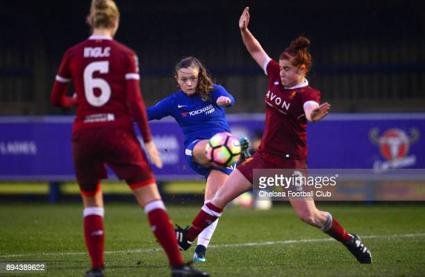 Erin Cuthbert of Chelsea scores to make it 51 during a WSL match between Chelsea Ladies and Liverpool Ladies at The Cherry Red Records Stadium on...