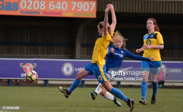 Erin Cuthbert of Chelsea scores to put her she 60 up during a FA Women's Cup 5th Round match between Chelsea and Doncaster Rovers Belles at The...