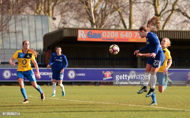 Erin Cuthbert of Chelsea scores to put her side 40 up during a FA Women's Cup 5th Round match between Chelsea and Doncaster Rovers Belles at The...