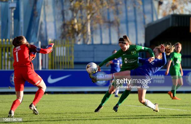 Erin Cuthbert of Chelsea takes a shot on goal during a WSL match between Chelsea Women and Yeovil Town Ladies FC at The Cherry Red Records Stadium on...