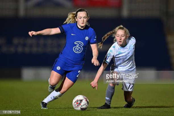 Erin Cuthbert of Chelsea takes on Lucy Fitzgerald of London City Lionesses during the Vitality Women's FA Cup Fourth Round match between Chelsea v...