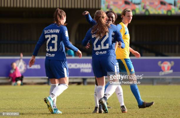 Erin Cuthbert of Chelsea with her team mates after she scores to put her side 40 up during a FA Women's Cup 5th Round match between Chelsea and...