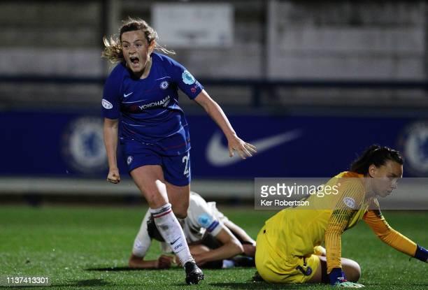 Erin Cuthbert of Chelsea Women celebrates scoring her sides second goal during the UEFA Women's Champions League Quarter Final First Leg match...