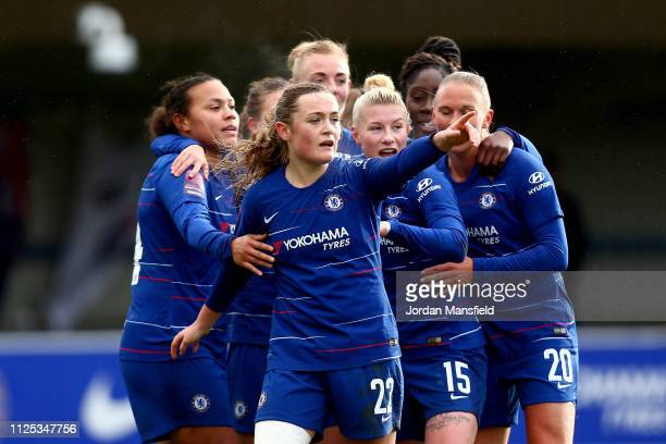 Erin Cuthbert of Chelsea Women celebrates with her teammates after scoring her sides first goal the FA WSL match between Chelsea Women and Birmingham...