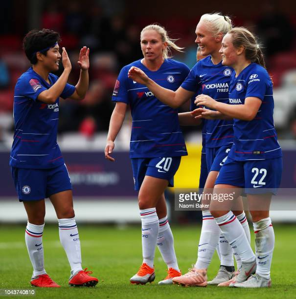 Erin Cuthbert of Chelsea Women celebrates with SoYun Ji of Chelsea Women after she scores her sides second goal during the FA WSL match between...