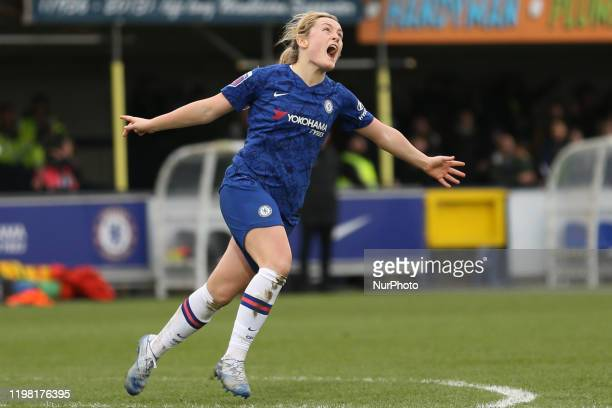 Erin Cuthbert of Chelsea Women celebrating her team's fourth goal during the Barclays FA Women's Super League match between Chelsea and West Ham...