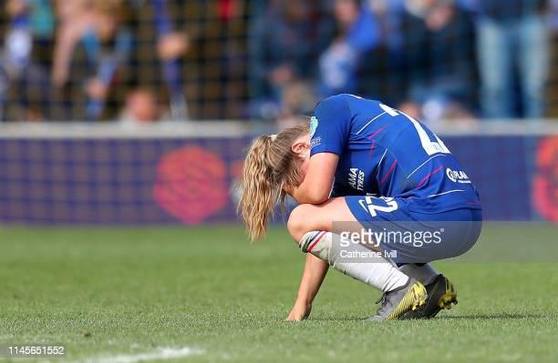 Erin Cuthbert of Chelsea Women reacts after the UEFA Women's UEFA Champions League Semi Final second leg match between Chelsea and Olympique Lyonnais...
