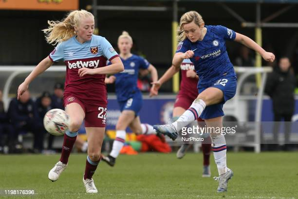 Erin Cuthbert of Chelsea Women scoring her team's fourth goal during the Barclays FA Women's Super League match between Chelsea and West Ham United...