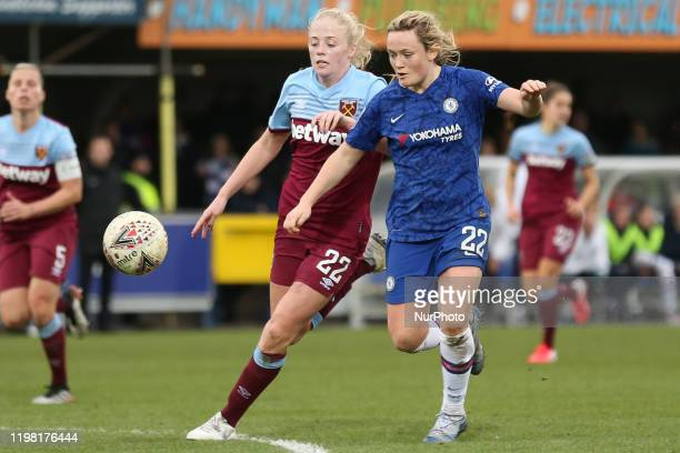 Erin Cuthbert of Chelsea Women taking on Grace Fisk of West Ham United Women during the Barclays FA Women's Super League match between Chelsea and...