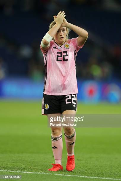 Erin Cuthbert of Scotland applauds fans after the 2019 FIFA Women's World Cup France group D match between Scotland and Argentina at Parc des Princes...