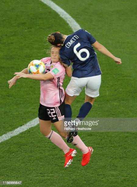 Erin Cuthbert of Scotland battles for possession with Aldana Cometti of Argentina during the 2019 FIFA Women's World Cup France group D match between...