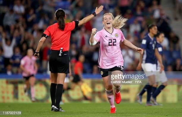 Erin Cuthbert of Scotland celebrates after scoring her team's third goal during the 2019 FIFA Women's World Cup France group D match between Scotland...