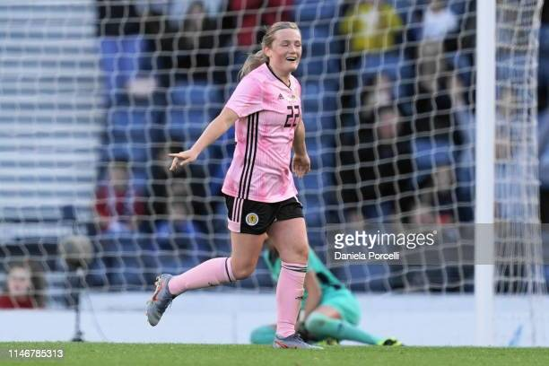 Erin Cuthbert of Scotland celebrates her goal during the Women's International Friendly between Scotland and Jamaica at Hampden Park on May 28 2019...