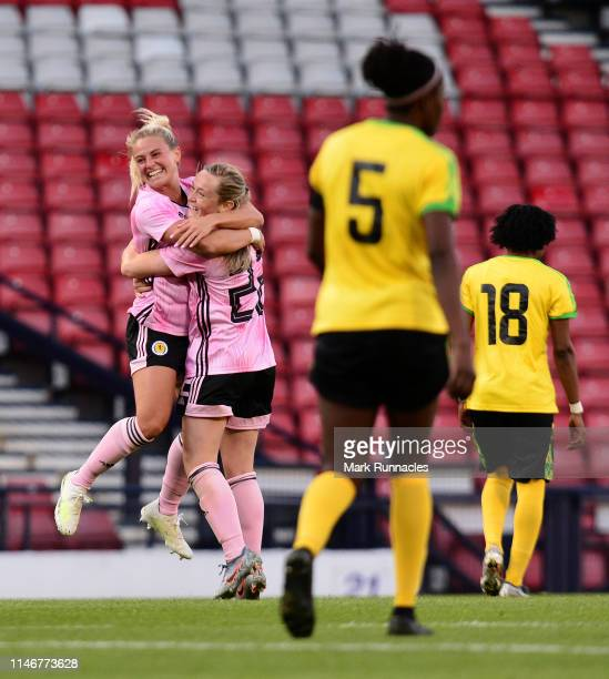 Erin Cuthbert of Scotland celebrates her goal with team mate Claire Emslie of Scotland during the Women's International Friendly between Scotland and...