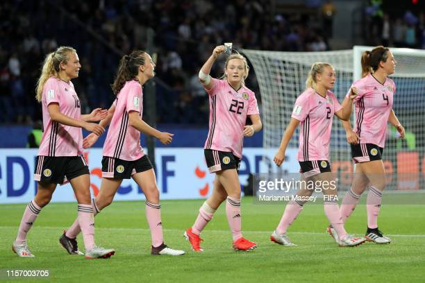 Erin Cuthbert of Scotland celebrates with teammates after scoring her team's third goal during the 2019 FIFA Women's World Cup France group D match...