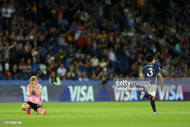 Erin Cuthbert of Scotland looks dejected as a penalty is awarded during the 2019 FIFA Women's World Cup France group D match between Scotland and...