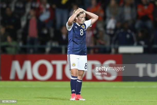 Erin Cuthbert of Scotland reacts after the Group D match between Scotland and Spain during the UEFA Women's Euro 2017 at Stadion De Adelaarshorst on...