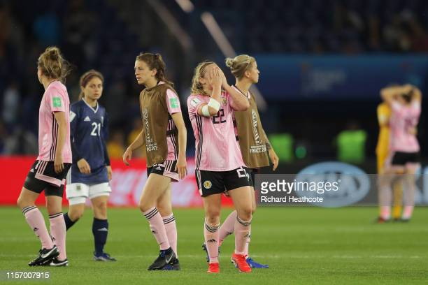 Erin Cuthbert of Scotland reacts following the 2019 FIFA Women's World Cup France group D match between Scotland and Argentina at Parc des Princes on...