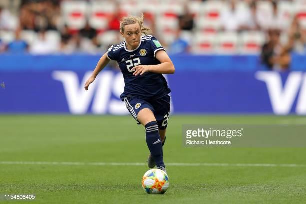 Erin Cuthbert of Scotland runs with the ball during the 2019 FIFA Women's World Cup France group D match between England and Scotland at Stade de...