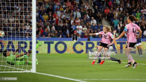 Erin Cuthbert of Scotland scores her team's third goal during the 2019 FIFA Women's World Cup France group D match between Scotland and Argentina at...