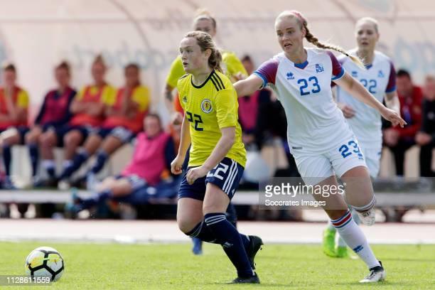 Erin Cuthbert of Scotland Women Andrea Ran Hauksdottir of Iceland Women during the Algarve Cup Women match between Iceland v Scotland at the Estadio...