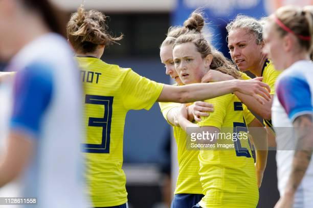 Erin Cuthbert of Scotland Women celebrates during the Algarve Cup Women match between Iceland v Scotland at the Estadio Municipal da Bela Vista on...