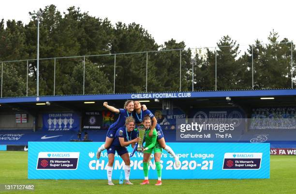 Erin Cuthbert, Sam Kerr, Millie Bright and Carly Telford of Chelsea celebrate with the Trophy following the Barclays FA Women's Super League match...