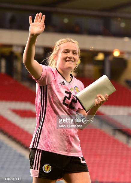 Erin Cuthbert waves to the fans at the final whistle during the Women's International Friendly between Scotland and Jamaica at Hampden Park on May 28...