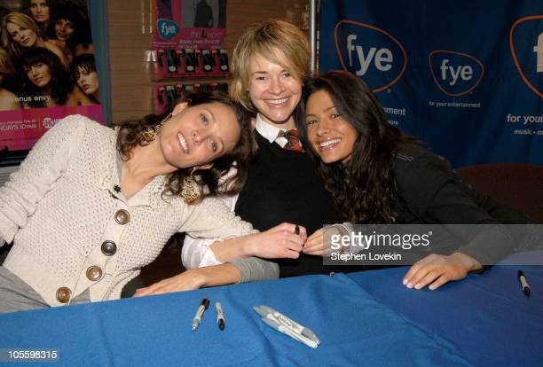 Erin Daniels Leisha Hailey and Sarah Shahi during Castmembers From Showtime's The L Word Sign Copies of The First Season DVD at FYE Rockefeller...